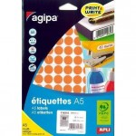 Etiquette multi-usages Apli Ø15mm orange - par 960