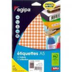Etiquette multi-usages Apli Ø8mm orange - par 2940