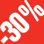 Sticker -30 % rouge /blanc 3.3x3.3cm par 500