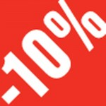 Sticker remise -10% 3.3x3.3cm rouge/blanc - par 500