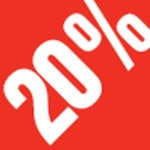 Sticker remise -20% 3.3x3.3cm blanc/rouge - par 500
