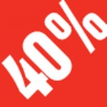 Sticker remise -40% .3x3.3cm rouge/blanc - par 500