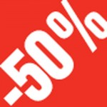Sticker remise -50% 3.3x3.3cm rouge/blanc - par 500
