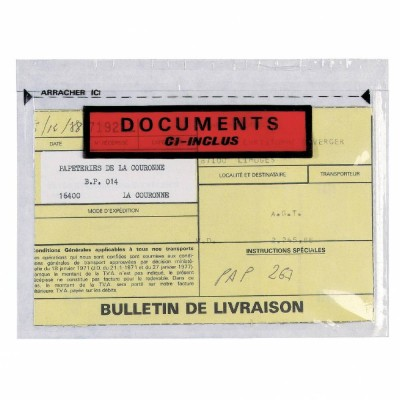 "Pochette ""documents ci-inclus"" 165 x 228 mm - par 250-Caisses & boites d'expédition"