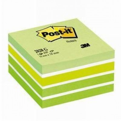 Post-it cube aquarelle vert 76 x 76 mm-Notes repositionnables