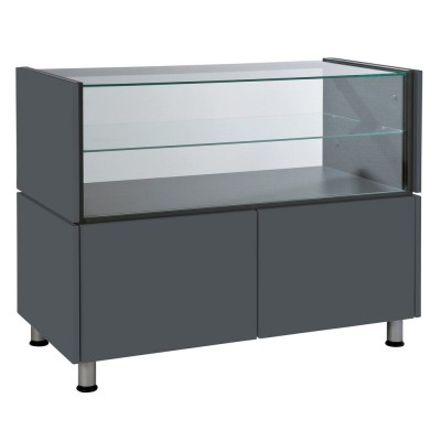 Structure double avec vitrine Banko anthracite  110 x 53 x 93 cm-Comptoirs modulables