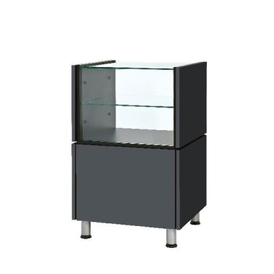 Structure simple avec vitrine Banko anthracite 60 x 53 x 93 cm-Comptoirs modulables