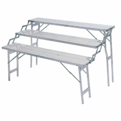 Table presentoir alu 3 niveaux 60 75 90 cm mat riel for Table exterieur largeur 60